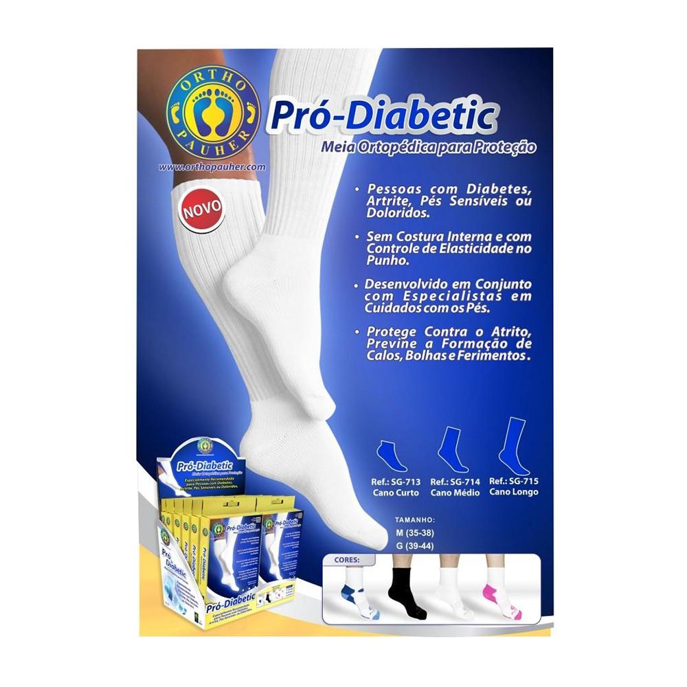 Meia Pro-Diabetic Curta Branca Ortho Pauher