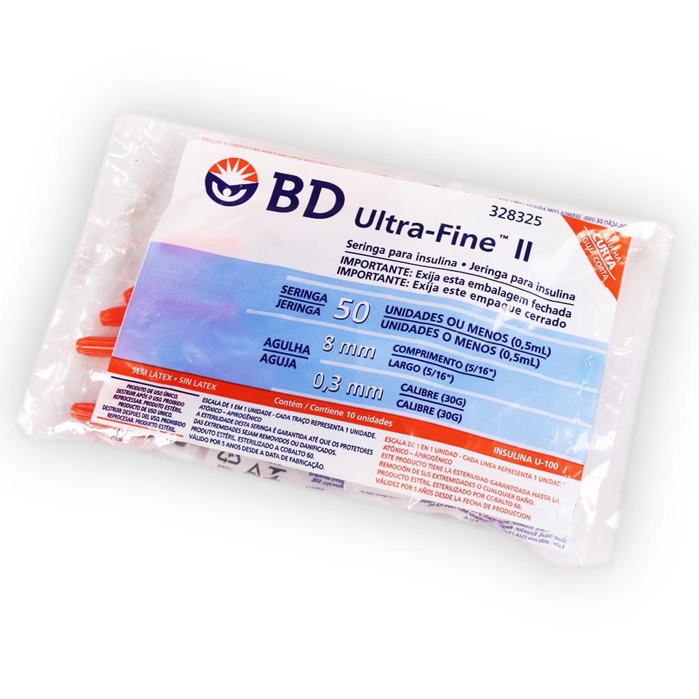 Seringa para Insulina BD Ultra-Fine 8 mm x 0,3 mm 0,5mL com 10 Und.